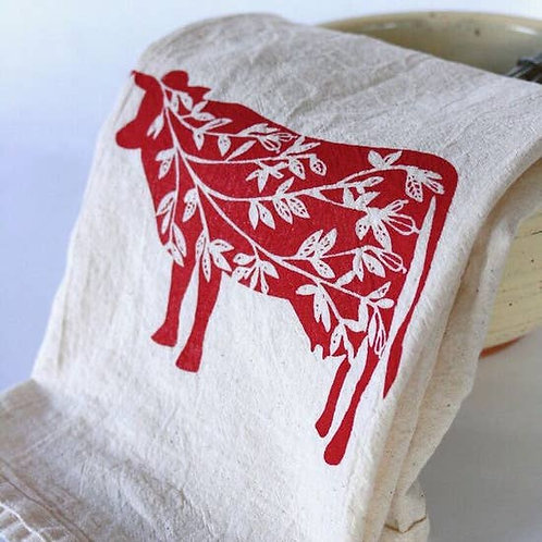 Cow Kitchen Towel, Tea Towel Red on Natural