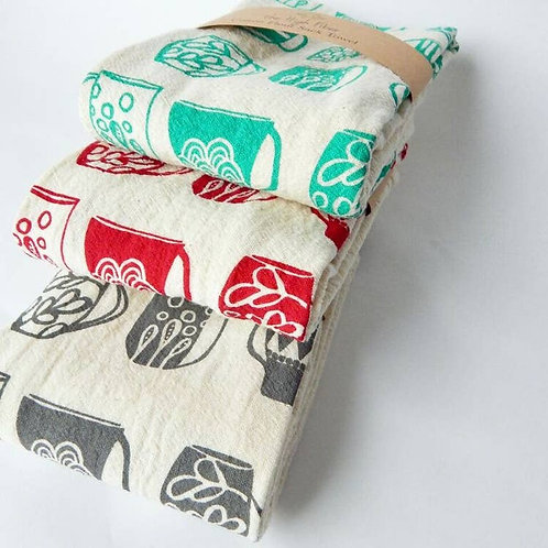 Mugs Kitchen Towel, Tea Towel Ruby on Natural
