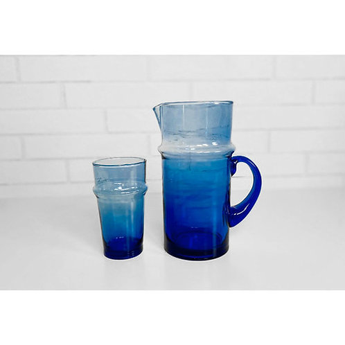 Handblown Glass Beldi Jug Blue
