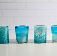 Mexican Handblown Glasses - Aqua - Set of 4