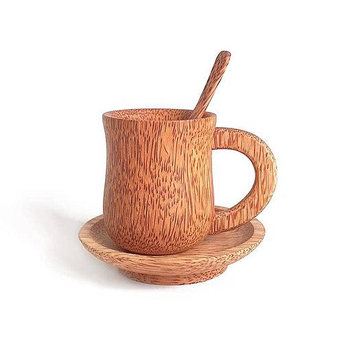 Coconut Wood Coffee Cup Set