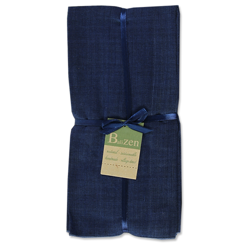 Blue Print & Solid, Cotton Napkins, Sets of 4