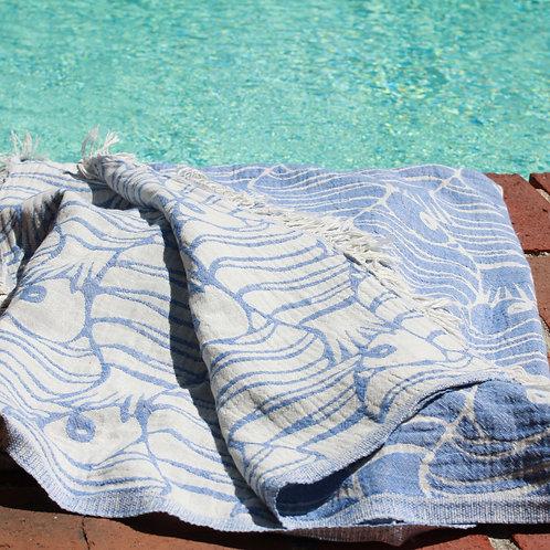 Fishes Beach Towel Blue