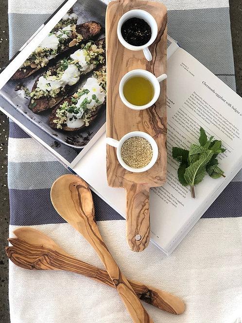 Olive Wood Narrow Salad Serving Set