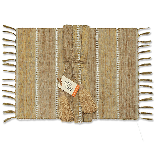Beige Stripes Vetiver Placemats, Set of 6