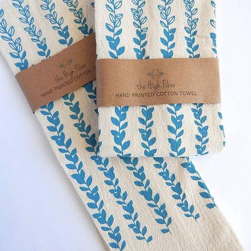 Vine Kitchen Towel, Tea Towel Blue