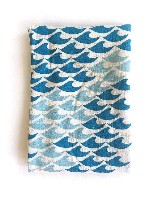 Waves tea Towel Turquoise/Powered Blue