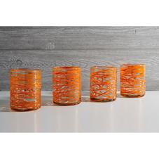 Handblown Mexican Glassware Orange Swirl