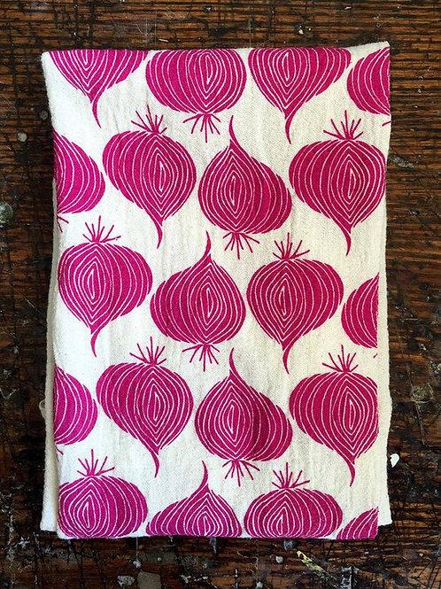 Red Onion Tea Towel Magenta