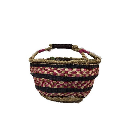 Seagrass Basket - Round pattern and stripes: pink/black/natural