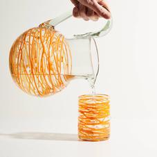Handblown Glass Pitcher-Orange Swirl