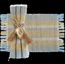 Serene Stripes Vetiver Placemats, Set of 6