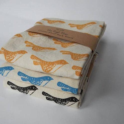 Birds Kitchen Towel, Tea Towel Blue on Natural