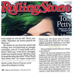 "Tom Petty Mentions Emma-Lee's ""What Would Tom Petty Do?"" in Rolling Stone Magazine."