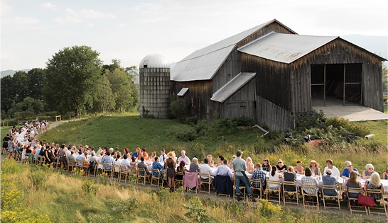 Large group at dinner on farm