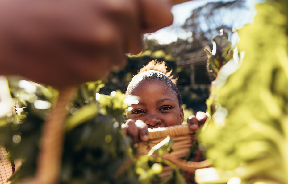 Girl reaching through greenery with basket