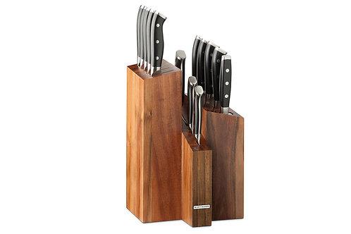 Messenblok, 12 messen, aanzetstaal, vleesvork, Pro Series, Rockwell 58