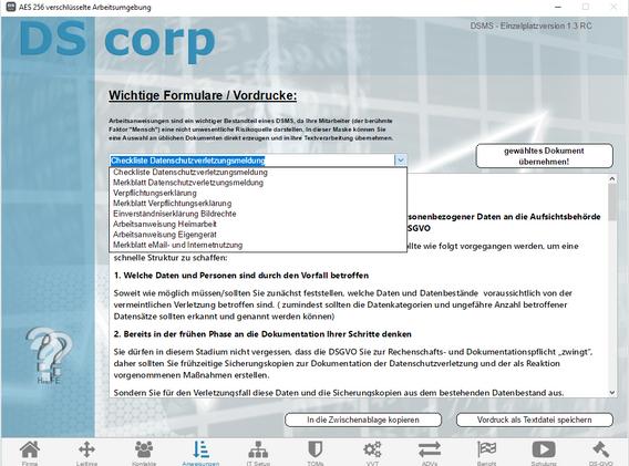 Screenshot V1.3 - DS corp - 04.01 Anweis