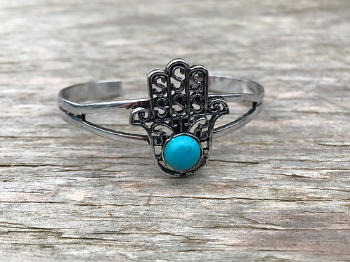 Hamsa hand silver colored cuff bracelet