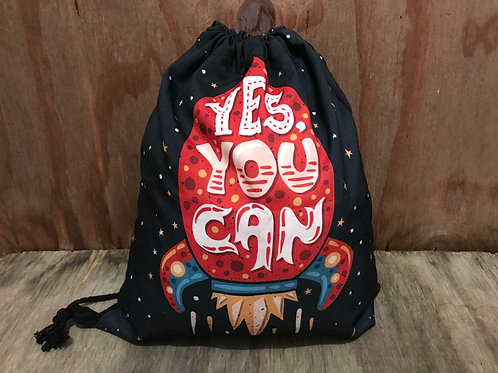 """Yes you can"" rocket drawstring"