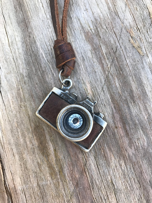 Leather and metal camera necklace with rhinestone