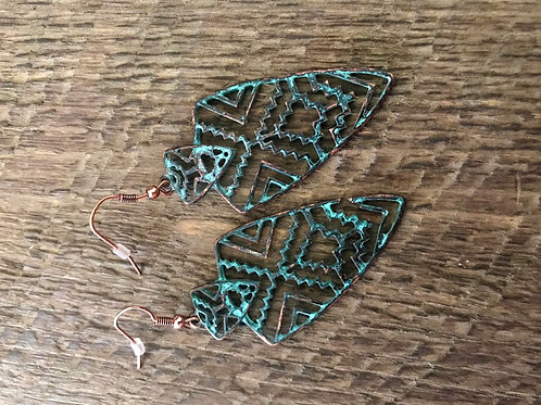 Patina Arrowhead Earrings
