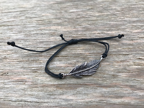 Feather black cord bracelet