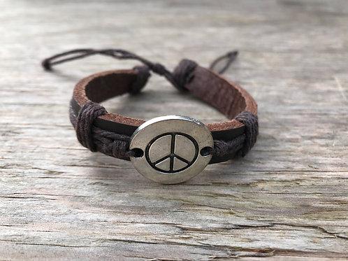 Solid metal medallion peace sign leather bracelet