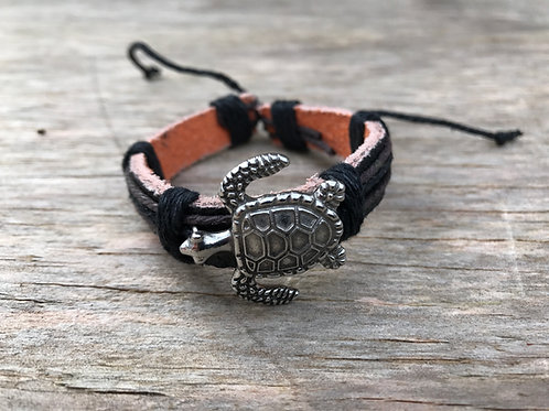 silver colored metal turtle leather bracelet