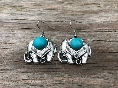 Elephant earrings with turquoise colored faux stone