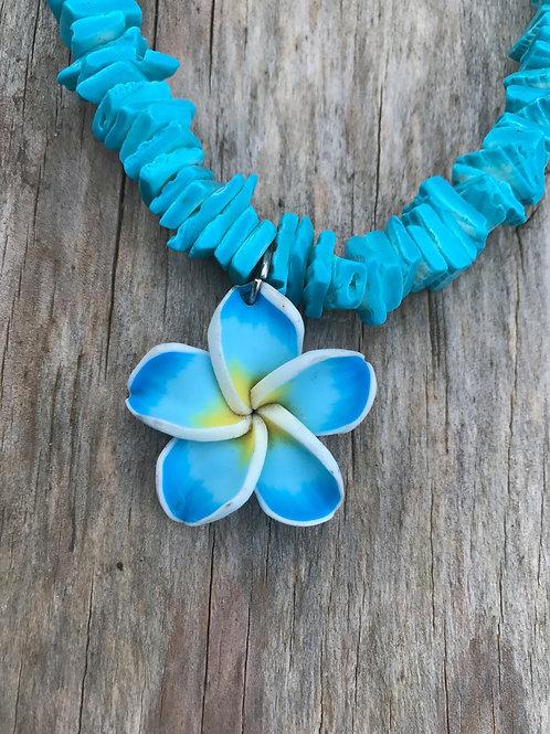 Blue fimo flower rough puka necklace