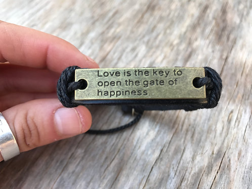 Leather bracelet with love quote