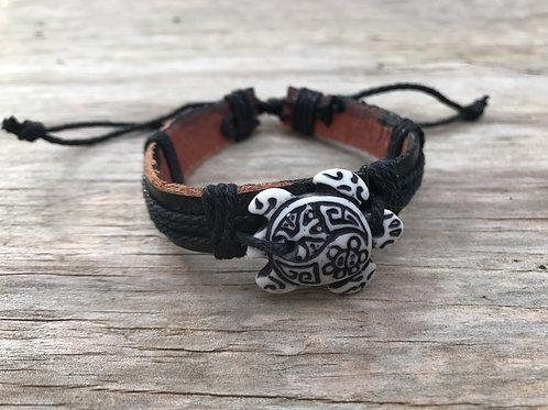 Tribal turtle leather bracelet