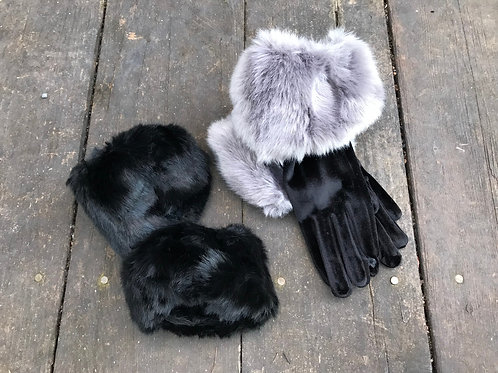 Faux fur wrist cuffs