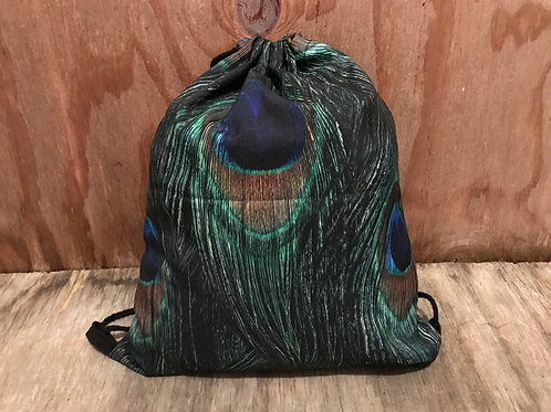 Peacock feather drawstring