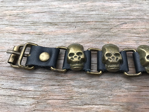 Bronze metal skull leather bracelet with buckle