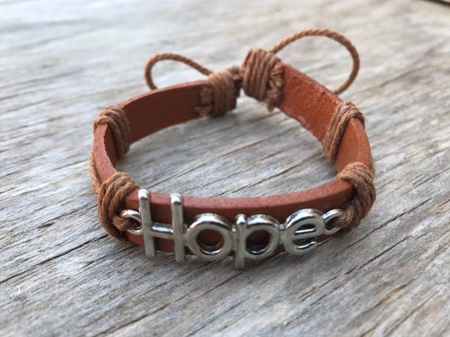Hope Leather Bracelet Large Letters