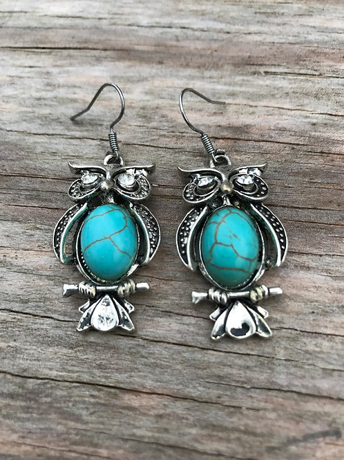 Owl earrings with turquoise colored faux stone