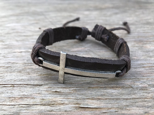 Silver colored cross leather bracelet
