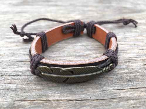 Feather leather bracelet-textured