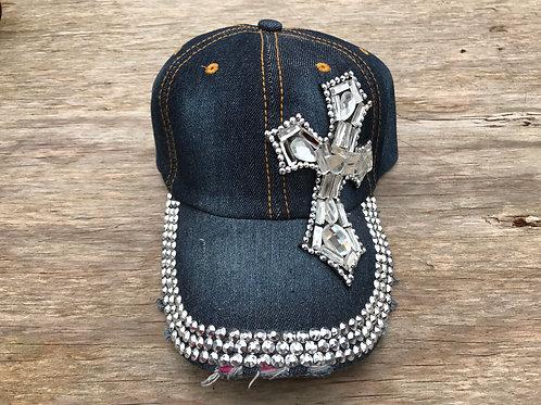 Rhinestone side cross cap