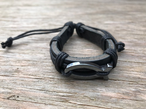 Hematite religious fish (ichthys) leather bracelet
