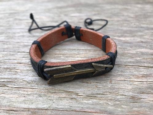 Rustic arrow leather bracelet