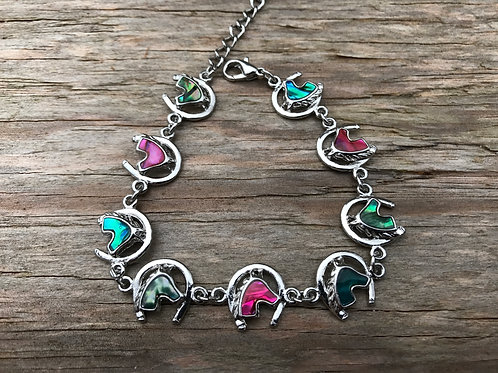 Horse head in horseshoe bracelet/anklet with paua shell
