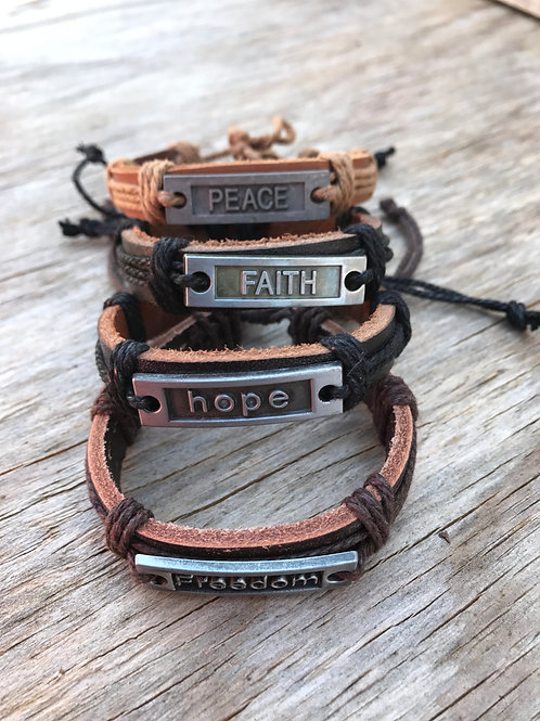 Leather bracelet with inspirational metal plaque