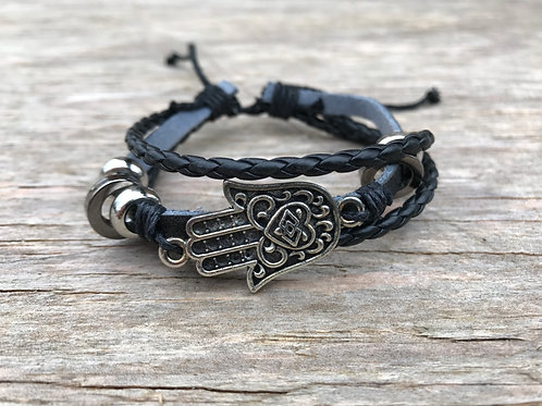 Hamsa hand leather bracelet