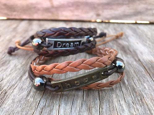 Inspiration 3 strand leather bracelet