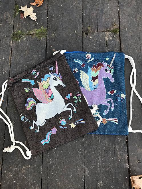 Fairy tale unicorn drawstring bag