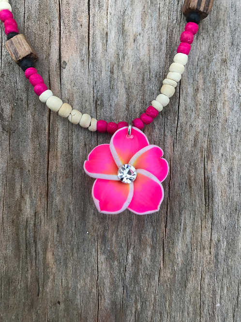 Pink small fimo necklace on seed beads