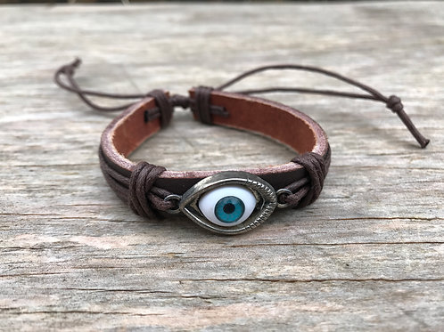 Realistic evil eye leather bracelet